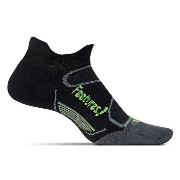 Feetures Elite Lite Cushion No-Show Tab (6 Colours) | F16-Elite-Light-Cushion-No-Show-Tab-Black-sock-on-foot-form
