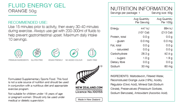 Pure Fluid Energy Gels (6 Flavours) | Pure_NIP_FluidGel_50gOrange_1024x1024