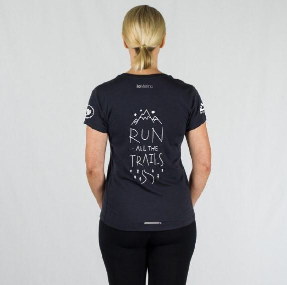 ioMerino Womens Ultra Tee Run all the Trails | RATT Womens Back