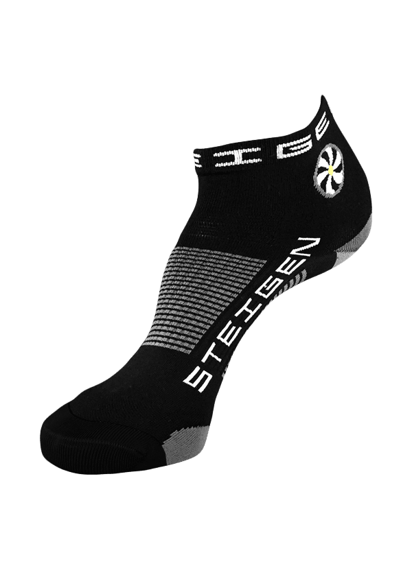 Steigen Quarter Length Running Socks (13 Colours) | Black-Quarter (1)