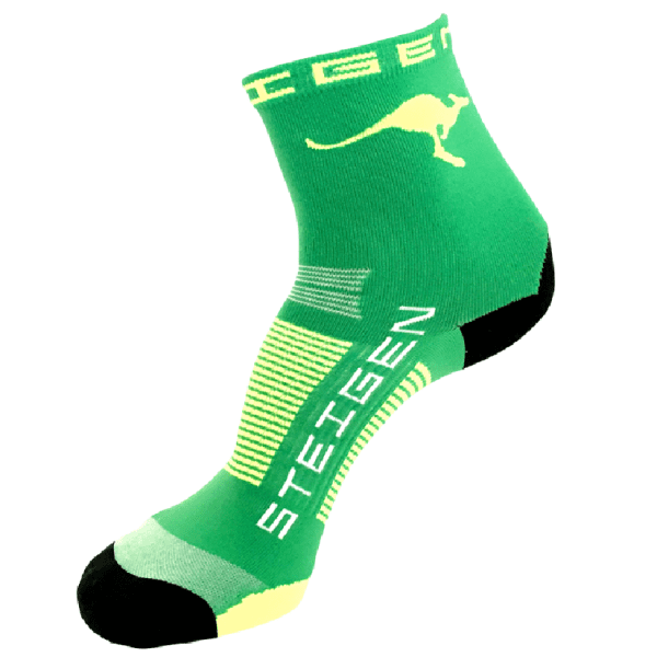 Steigen Half Length Running Socks (8 Colours) | AUS-Running-Socks-Green-Half-Length-600x825