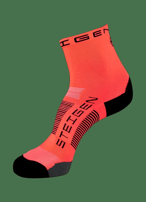 Steigen Half Length Running Socks (8 Colours) | Fl Red_1962-600x825