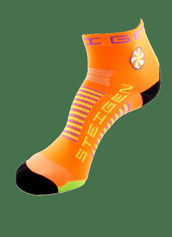 Steigen Quarter Length Running Socks (13 Colours) | Fluro-Orange-Quarter-Length-600x825