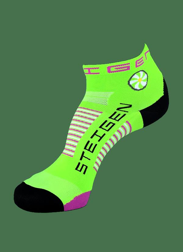 Steigen Quarter Length Running Socks (13 Colours) | green-purple1-600x825