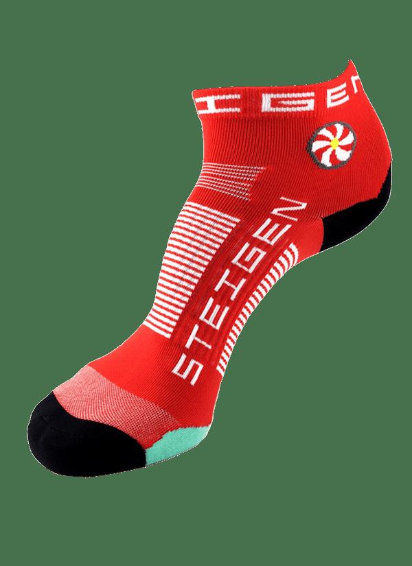 Steigen Quarter Length Running Socks (13 Colours) | red-quarter-600x825