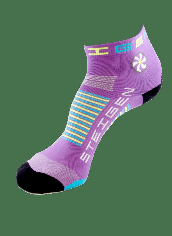 Steigen Quarter Length Running Socks (13 Colours) | Fluro-Purple-Quarter-Length