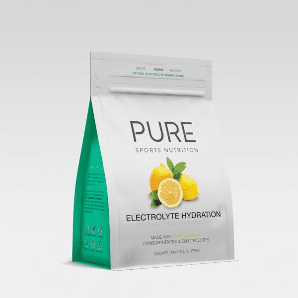 Pure Electrolyte Hydration 500g Pouch | PURE_Electrolyte_Hydration_500g_-_grey_background_-_single_lemon_pouch_1024x1024