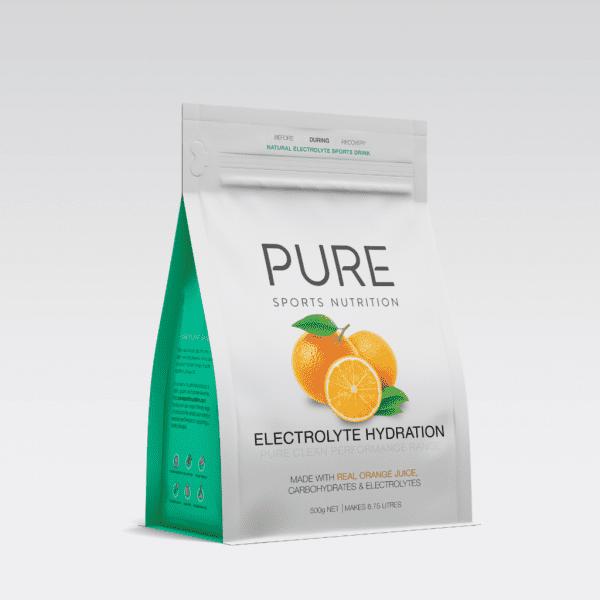 Pure Electrolyte Hydration 500g Pouch | PURE_Electrolyte_Hydration_500g_-_grey_background_-_single_orange_pouch_1024x1024