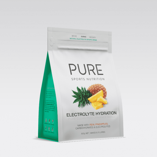 Pure Electrolyte Hydration 500g Pouch | PURE_Electrolyte_Hydration_500g_-_grey_background_-_single_pineapple_pouch_1024x1024