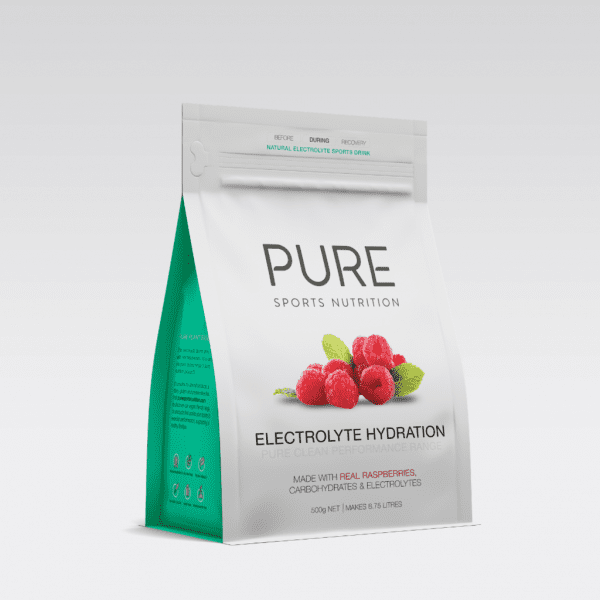 Pure Electrolyte Hydration 500g Pouch | PURE_Electrolyte_Hydration_500g_-_grey_background_-_single_raspberry_pouch_1024x1024