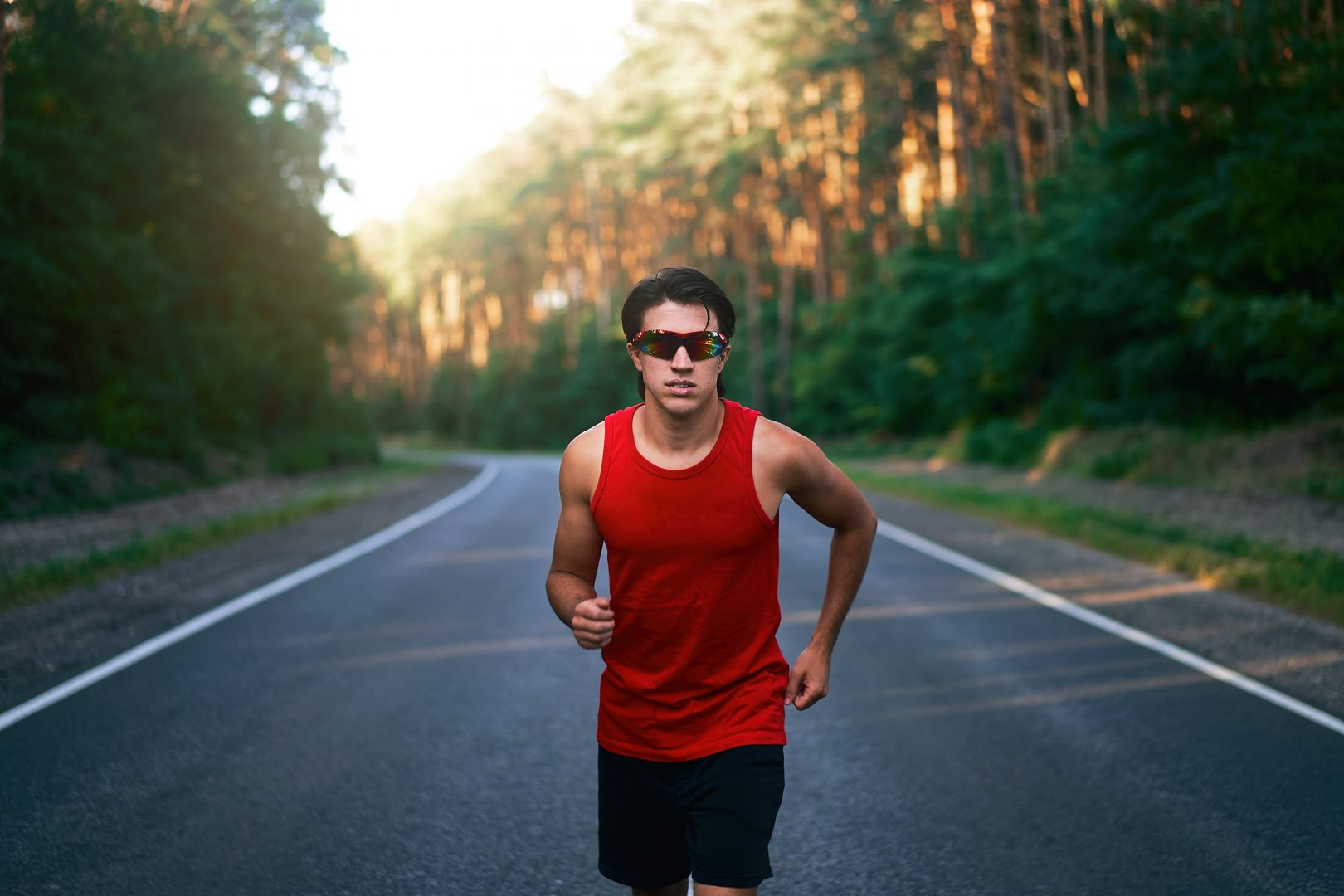 running with sunglasses