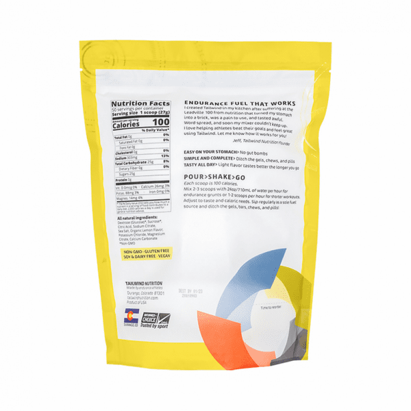 Tailwind Nutrition Endurance Fuel Drink - 50 Servings (8 Flavours) | Lemon Large Back