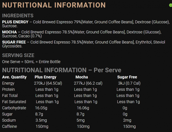 Fixx Nutrition Cold Brew Coffee Shot 50ml | Nutrition