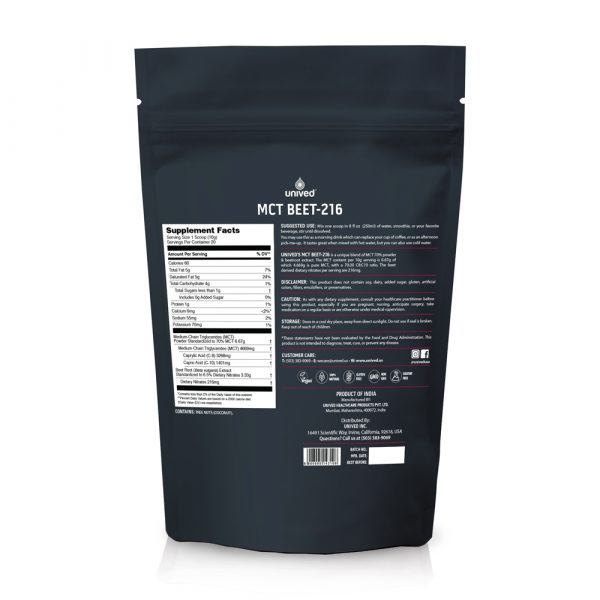 Unived MCT Beet-216 (20 Serve Pouch) | OC-Unived-MCT-Beet-Back