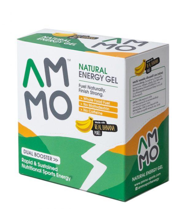 AMMO Natural Energy Gel (3 Flavours)   packshot box banana