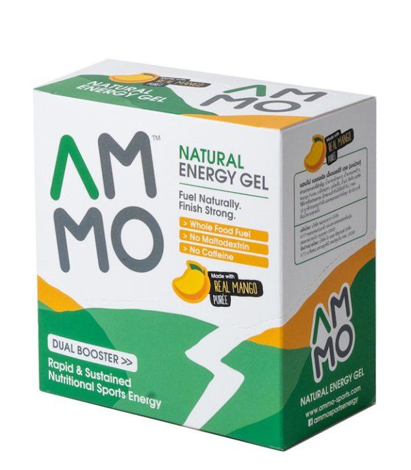 AMMO Natural Energy Gel (3 Flavours)   packshot box mango